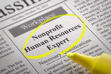 Nonprofit Human Resources Expert Vacancy in Newspaper.