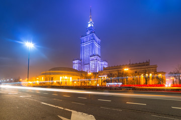 Palace of Culture and Science at night in Warsaw, Poland