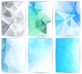Abstract backgrounds set, brochure & flyer designs