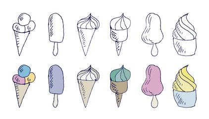 Ice cream doodles/Set