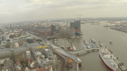 Aerial view of Hamburg and Hamburg port