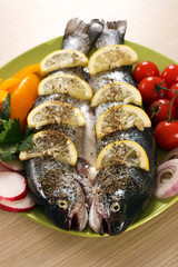 prepared trout fish on plate