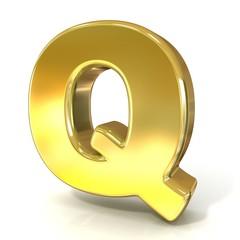 Golden font collection letter - Q. 3D render illustration