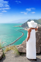 onely woman looking on scenic view