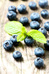 Blueberries on wooden table closeup