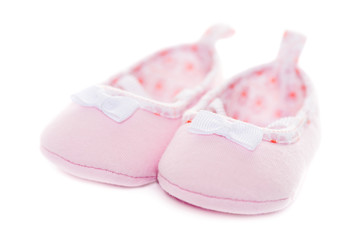 Close up pink baby shoes