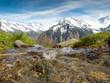 Leinwanddruck Bild - Quellwasser im Hochgebirge