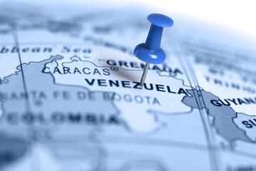 Location Venezuela. Blue pin on the map.