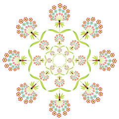 Round floral embroidery