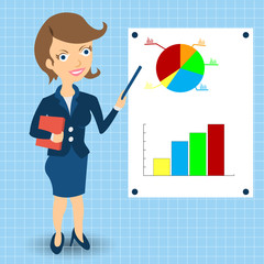 businesswoman with statistic graphs