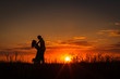 silhouette of couple at sunset - 80007094