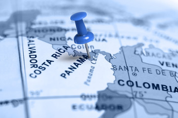Location Panama. Blue pin on the map.