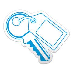 Pegatina simbolo llave con etiqueta