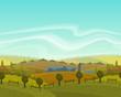 Vector spring seamless landscape background