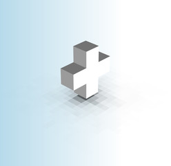 white cross with pixel shadow over blue white gradient