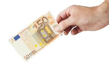 50 Euro Schein übergeben