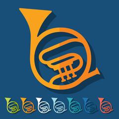 Flat design: french horn