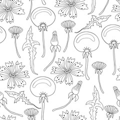 Vector flower background. Black and white.