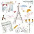 Paris symbols, postcard, hand drawn - 80010058