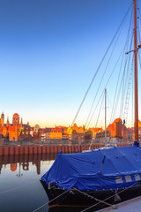 Sunrise scenery of Gdansk old town in Poland