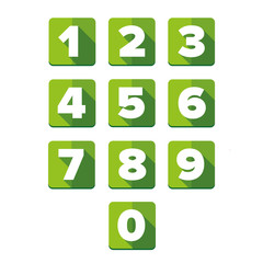 Number vector set green - flat design