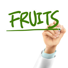 doctor writing fruits word