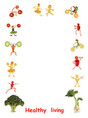 Healthy living. Little funny people made of vegetables and fruit