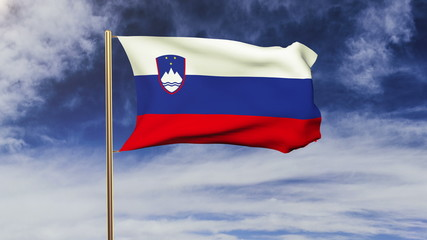 Slovenia flag waving in the wind. Looping sun rises style