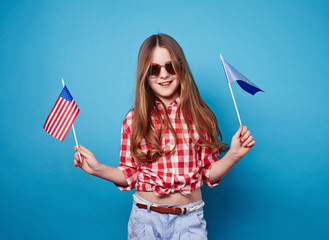 Girl and two flags on a stick