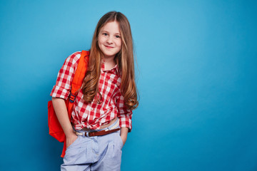Girl with schoolbag