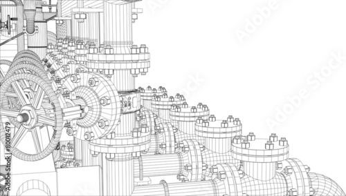 Wire-frame industrial equipment on white background - 80012479