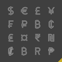 Linear world currency symbols icons with dollar, euro, pound