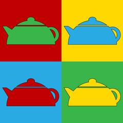 Pop art kettle symbol icons.