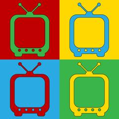 Pop art TV symbol icons.
