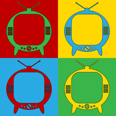 Pop art TV symbol icons.