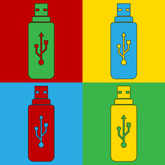Pop art usb symbol icons.