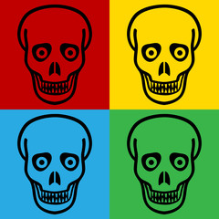 Pop art zombie symbol icons.