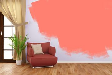Wand malern bei Renovierung im Wohnzimmer