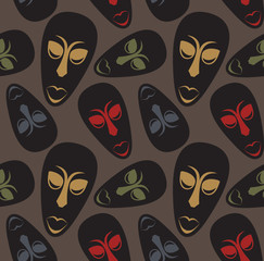 Seamless vector pattern with african masks