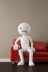 Unzufriedener 3D Mensch auf Sofa