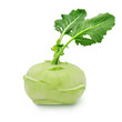 Leinwanddruck Bild - Fresh kohlrabi with green leaves on isolated white backround