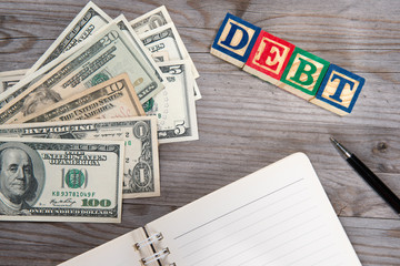 Dollars and debt word.