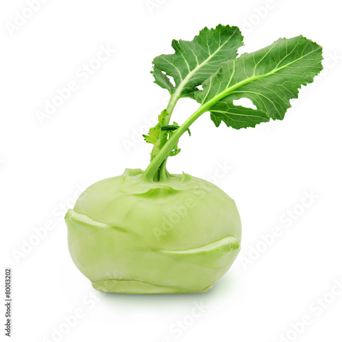 Fresh kohlrabi with green leaves on isolated white backround - 80013202