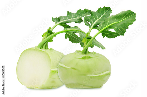 Leinwandbild Motiv Fresh green kohlrabi on isolated backround