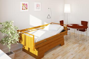 Pflegebett im Zimmer im Pflegeheim