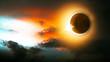 Sonnenfinsternis, Mond und Sonne am Himmel - 80014018