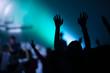 Leinwanddruck Bild - christian music concert with raised hand