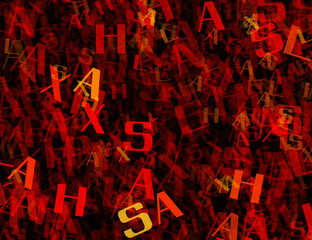 many abstract chaotic red alphabet letters