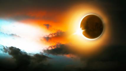 Sonnenfinsternis, Mond und Sonne am Himmel