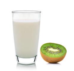 Kiwi fruit and milk Isolated on white background